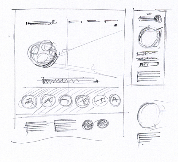 Initial design wireframes