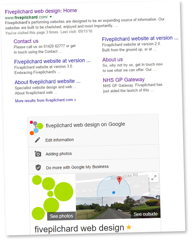 Fivepilchard on the Google search engine listing